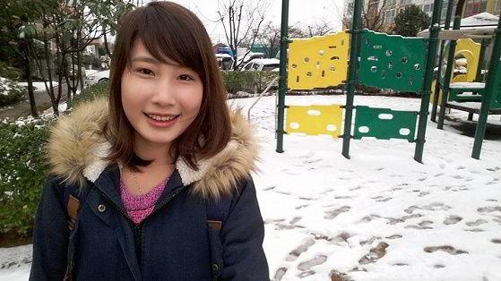 Hình ảnh bạn Trần Thị Thu – Du học sinh New Ocean tại Hàn Quốc trong những ngày tuyết rơi