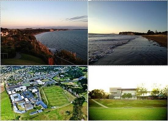 Cảnh biển thành phố Aukland và cảnh bao quát của trường Cao đẳng Long Bay