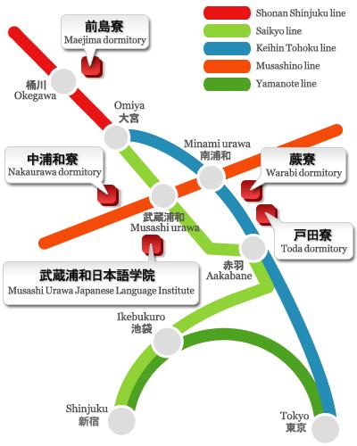 Vị trí Trường Nhật ngữ Musashi Urawa
