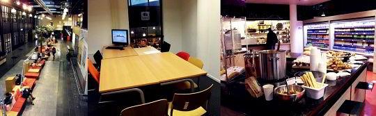 Hình ảnh sảnh thư giãn, phòng tự học và khu ăn uống của trường