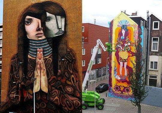 Những bức tranh nghệ thuật ngay trên tường các tòa nhà tại Rotterdam