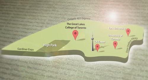 Vị trí địa lý của trường Cao đẳng Great Lakes ở Toronto