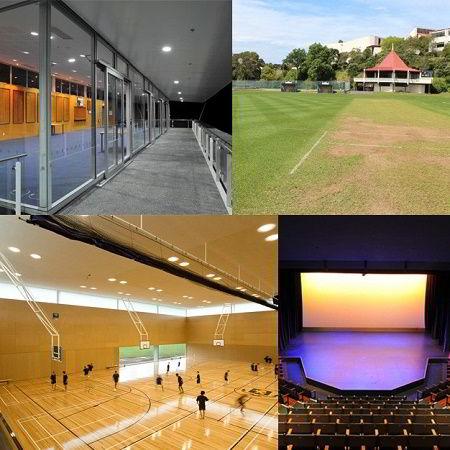 Hình ảnh sân bóng, phòng thể thao và nhà hát của trường