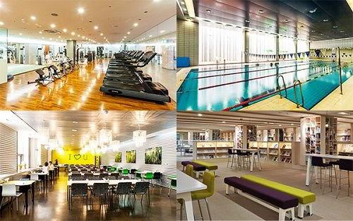 Hình ảnh phòng tập gym, bể bơi, khu nhà ăn và thư viện trường Solbridge