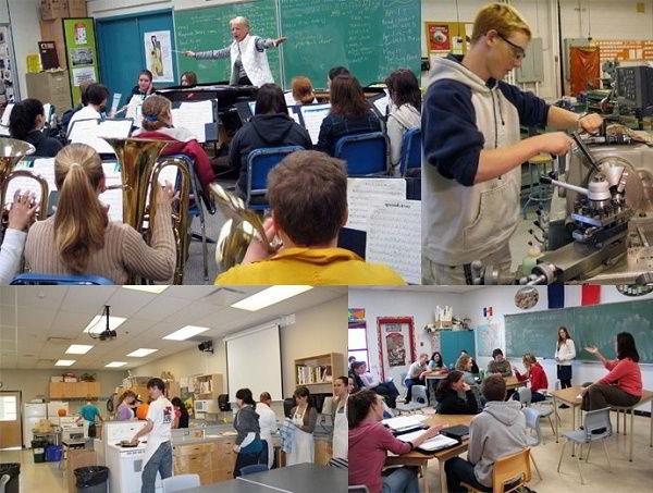 Hình ảnh lớp học và lớp thực hành của học sinh tại các trường trung học thuộc Saanich