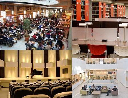 Hình ảnh thư viện, hội trường nhà hát và khu thư giãn của học sinh tại Đại học York