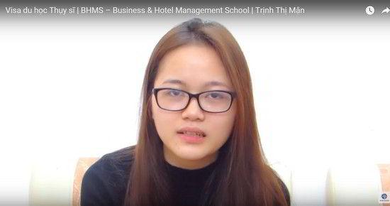 Trịnh Thị Mận trong ngày nhận visa du học Thụy Sĩ