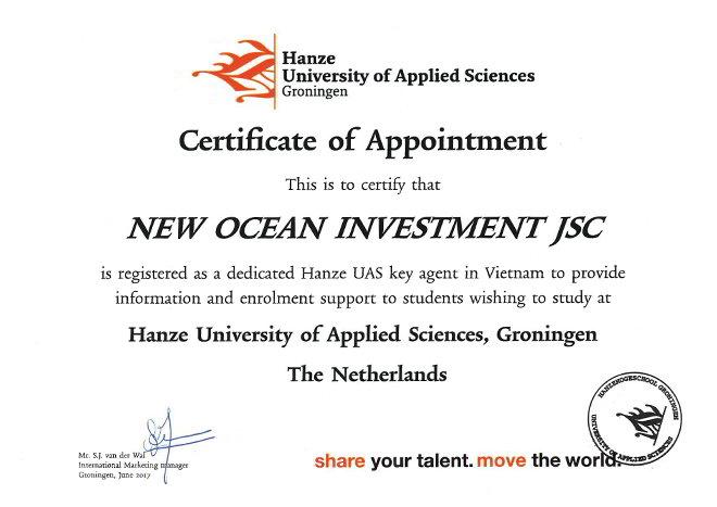 Chứng chỉ agent đặc biệt do Hanze cấp cho New Ocean là đại diện tuyển sinh DUY NHẤT của trường Đại học Khoa học ứng dung Hanze tại Hà Nội.