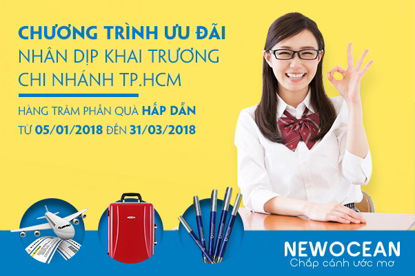 """ƯU ĐÃI DU HỌC TỪ NEW OCEAN NHÂN DỊP """"KHAI TRƯƠNG 2018"""""""