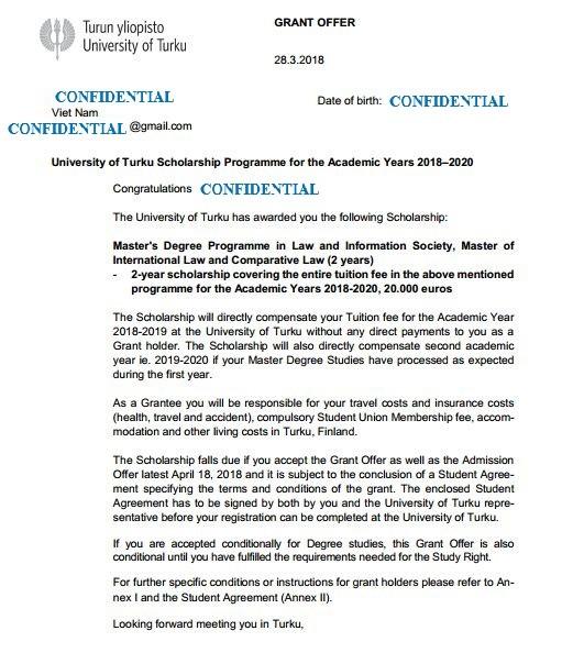 Công bố học bổng của trường Đại học Turku