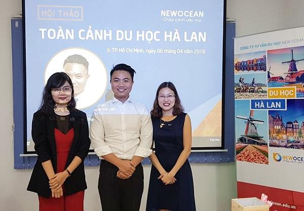 Ms. Phạm Thị Hương, Mr. Phạm Đình Bảng (Nuffic Neso Vietnam) và Bà Hoàng Vĩnh Hường – PGD Công ty tư vấn du học New Ocean (từ trái qua)