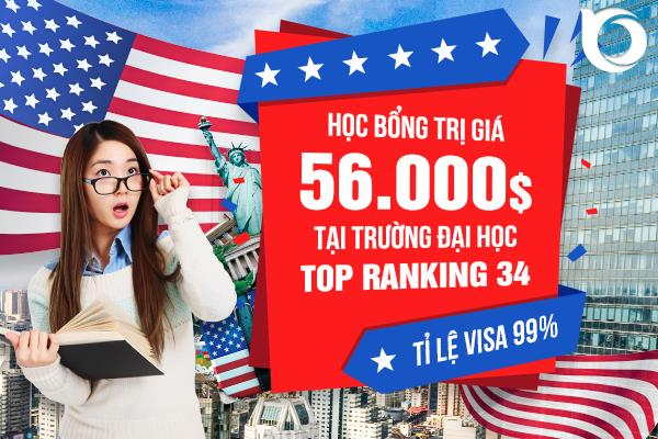 Học bổng trị giá 56.000$ từ trường Đại học Top Ranking 34