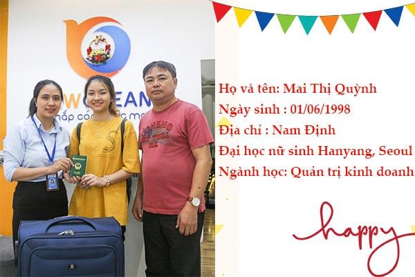 Mai Thị Quỳnh nhận Visa du học Hàn Quốc từ New Ocean