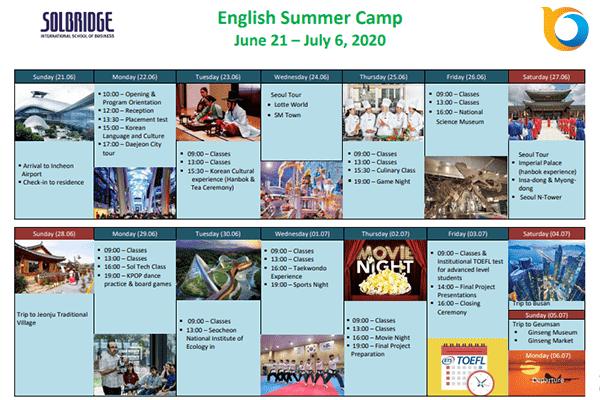 Lịch trình dự kiến của chương trình du học hè Hàn Quốc 2020