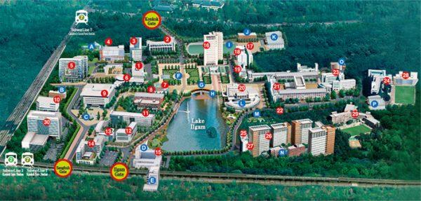 Sơ đồ campus Seoul của trường đại học Konkuk