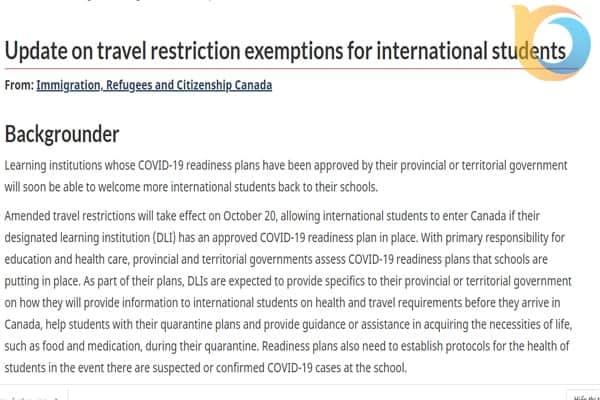 Thông báo chính thức từ Cơ quan Nhập cư, Người tị nạn và Quốc tịch Canada (IRCC)