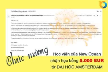 Học sinh New Ocean suất sắc nhận học bổng 5.000 EUR từ Đại học Amsterdam